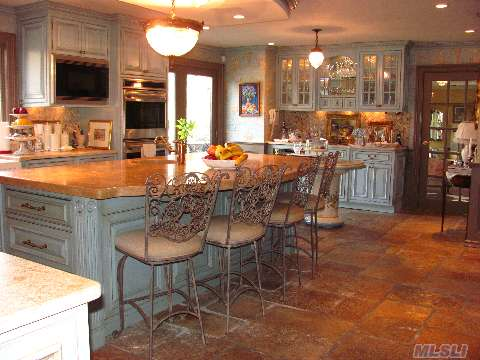 Custom Kitchen Antique Limestome Floor Imported from France