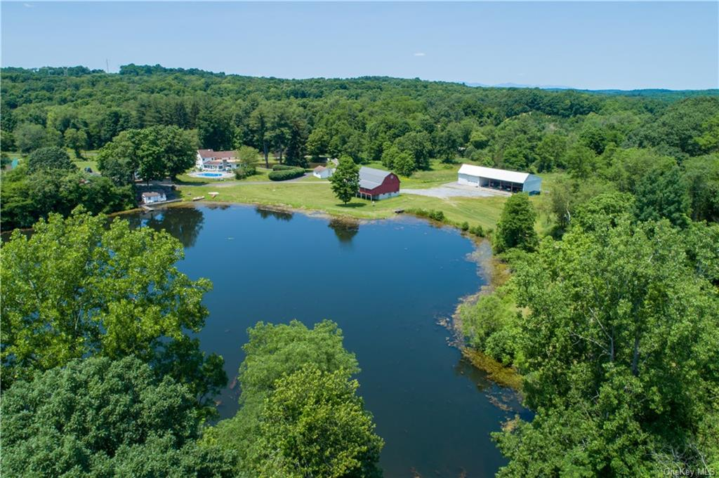 Scenic pond and multiple streams sets the stage on the approach to the main home.